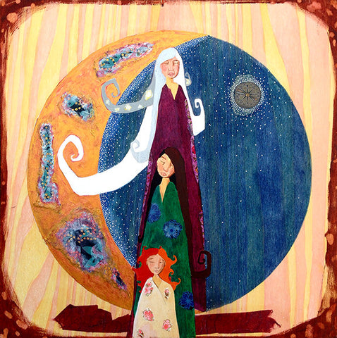 Mother Maiden Crone Moon Painting by Lea K Tawd
