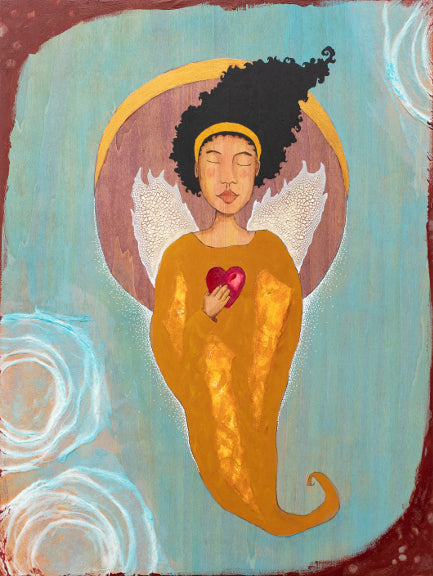 mixed media painting of a black woman with angel wings holding a heart in her hand. Behind her is a purple circle with a gold crescent moon.  The background is light blue with burgundy and white decorative elements.