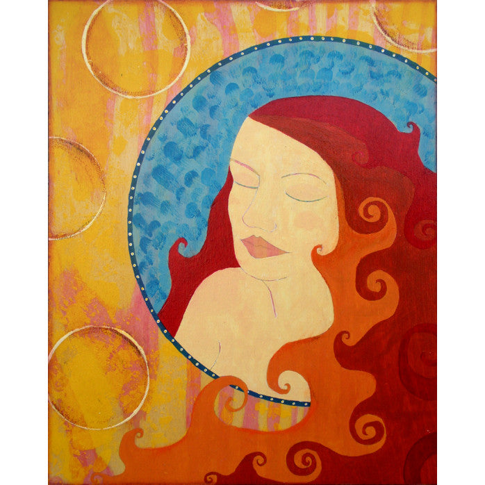 vibrant colorful artwork depicting a woman with firey red hair. She is in a circle of textured blue. Behind the circle are yelow and red painted wood grain and white circles.