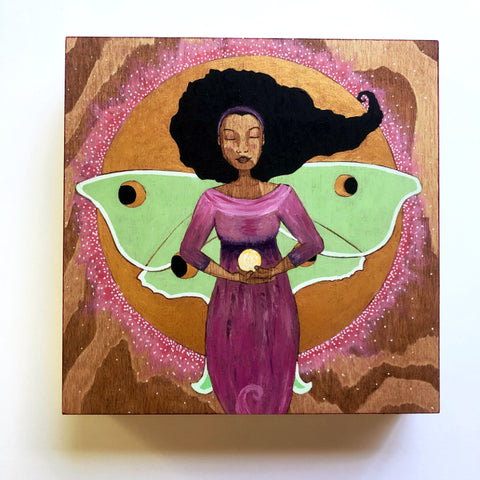 "Luna - 8 x 8"" Archival Print Mounted on Wood - Ready to Hang"