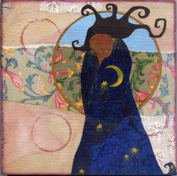 mixed media painting depicting a woman of color in a blue robe filled with stars and the moon.  Behind her is a golden circle, collaged paper and red decorative circles.