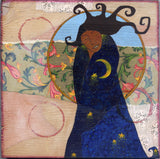 painting of zen black woman with moon robes by Lea K. Tawd