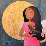 Mixed media painting on wood depicting a woman in a pink dress.  The woman's eyes are closed, but her 3rd eye is open.  She is holding a dark-colored bird in her hand.  On her left shoulder is an angel wing, and from her right shoulder dots of white signifying light spread out like a wing.  Behind her is a golden full moon on a dark field of blue.