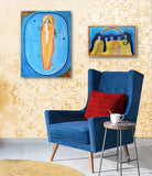 Paintings by Lea K. Tawd hanging on a wall yellow blue