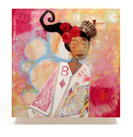 "Queen of Hearts - 8 x 8"" Archival Print Mounted on Wood - Ready to Hang"