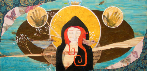 """Radiance,"" 48"" x 24"" mixed media on wood"