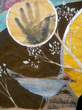 detail of mixed media painting depicting a blue bird, collage paper with musical notes, handprint, and textured background