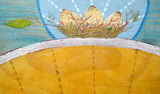 artwork detail showing 3 speckled eggs in a bird's nest, a silver arc and blue and yellow background