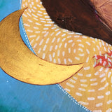 gold crescent moon painting detail on a mixed media artwork