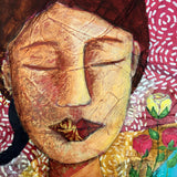 close up detail of textured mixed media woman's face and roses.