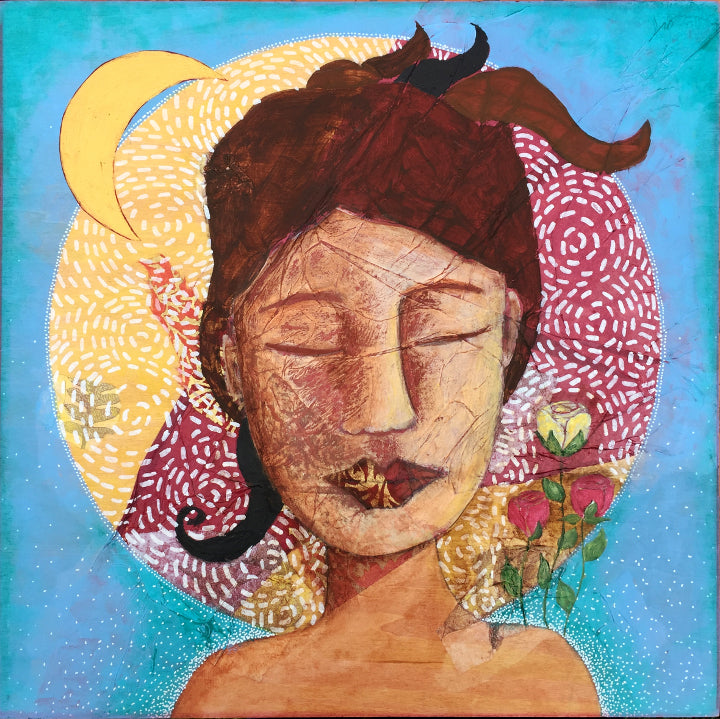 feminine mixed media artwork depicting a woman with her eyes closed.  Her brown hair is up. There are red and yellow roses growing on her left shoulder and a crescent moon over her right.  Behind her head is a circle filled with textured paper and paint; behind the circle is a field of sky blue with white dotted patterns