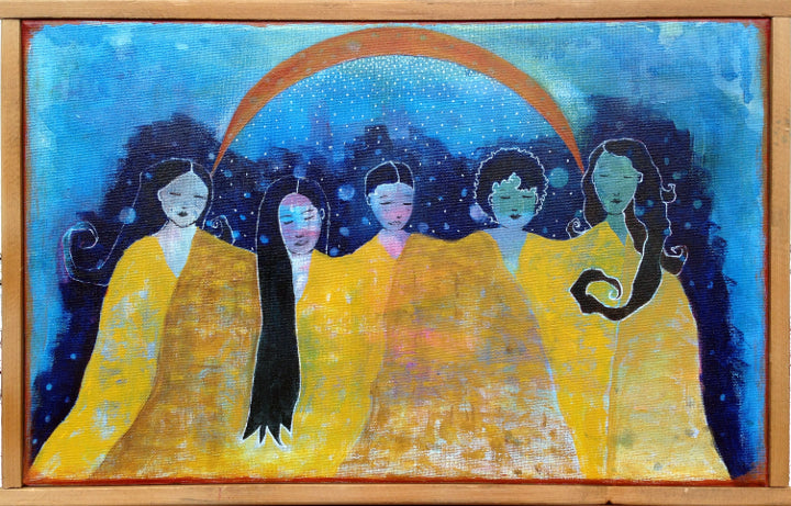 Yellow and blue moon women painting artist Lea K. Tawd