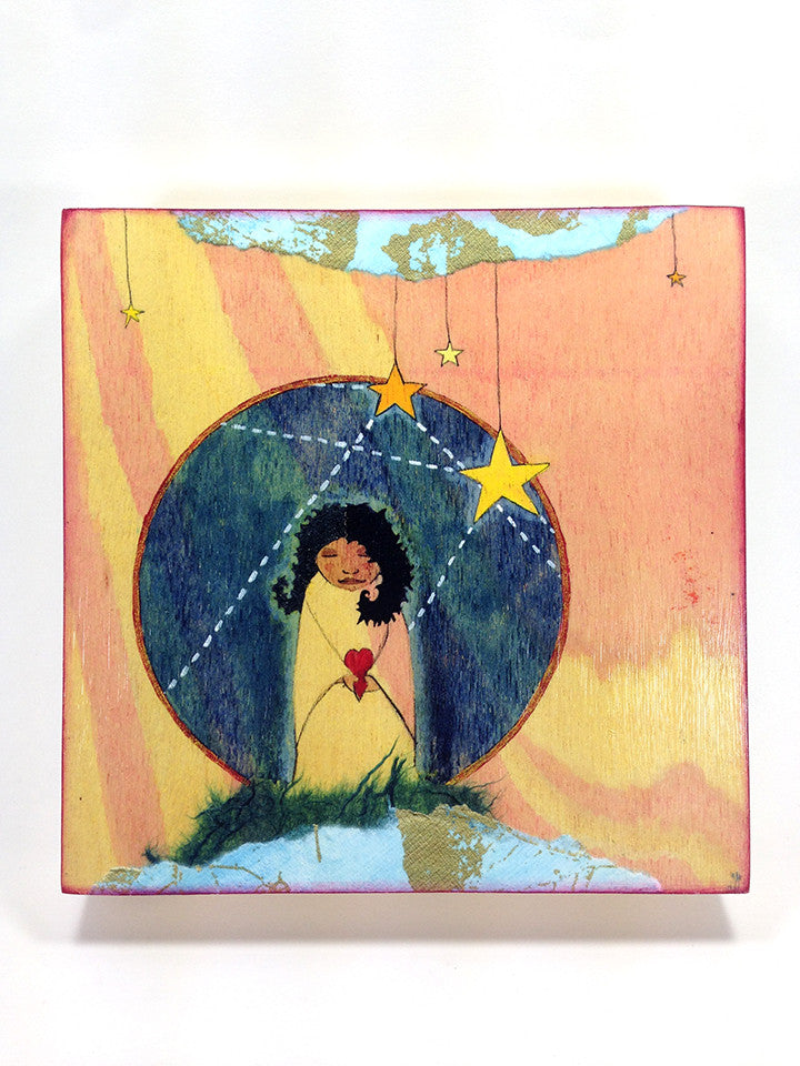 black woman Goddess painting Stars by Lea K. Tawd