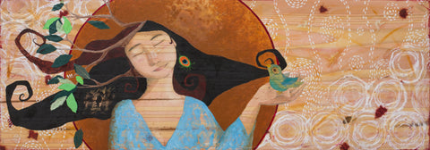 Storyteller, mixed media painting of woman and bird by Lea K. Tawd