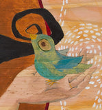 detail of art showing a bird in a hand