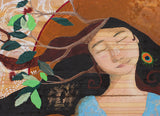 detail of painting woman with branches in her hair by Portland artist Lea K. Tawd