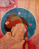 mixed media painting on wood of a sensuous woman with her eyes closed, one hand on her shoulder.  Above her is a hand dropping pink flowers onto her.  Behind her head is a blue circle with a silver lining. The circle is filled with yellow marks.