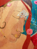 detail of a painting of a woman with a meditative expression and a mixed media background
