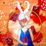 Mixed Media Girl orange and blue by Lea K. tawd