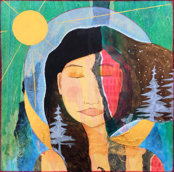 mixed media painting of a dark haired woman with silver silhouettes of trees in her hair.  behind her is a gold crescent moon, a gold sun, and green stained wood grain