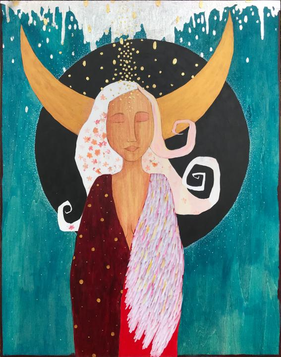 spiritual artwork on wood panel depicting a white haired woman with pink flowers in her hair wearing a read and golden gown with a wing on her left shoulder.  Behind her head is a crescent moon, a black circle, and a blue background.  Above her head is silver leaf dripping down and gold leaf marks falling down over her head