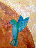 detail of hummingbird painted by Lea K. Tawd