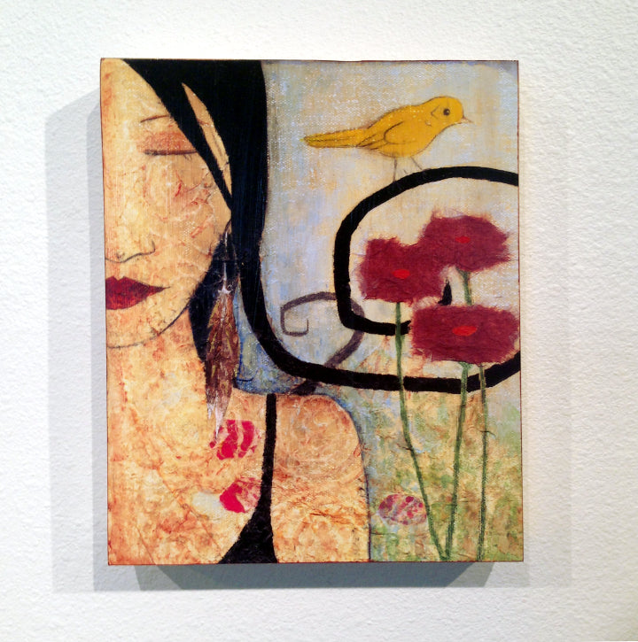 Painting of woman, bird, and flowers Print by Lea K. Tawd