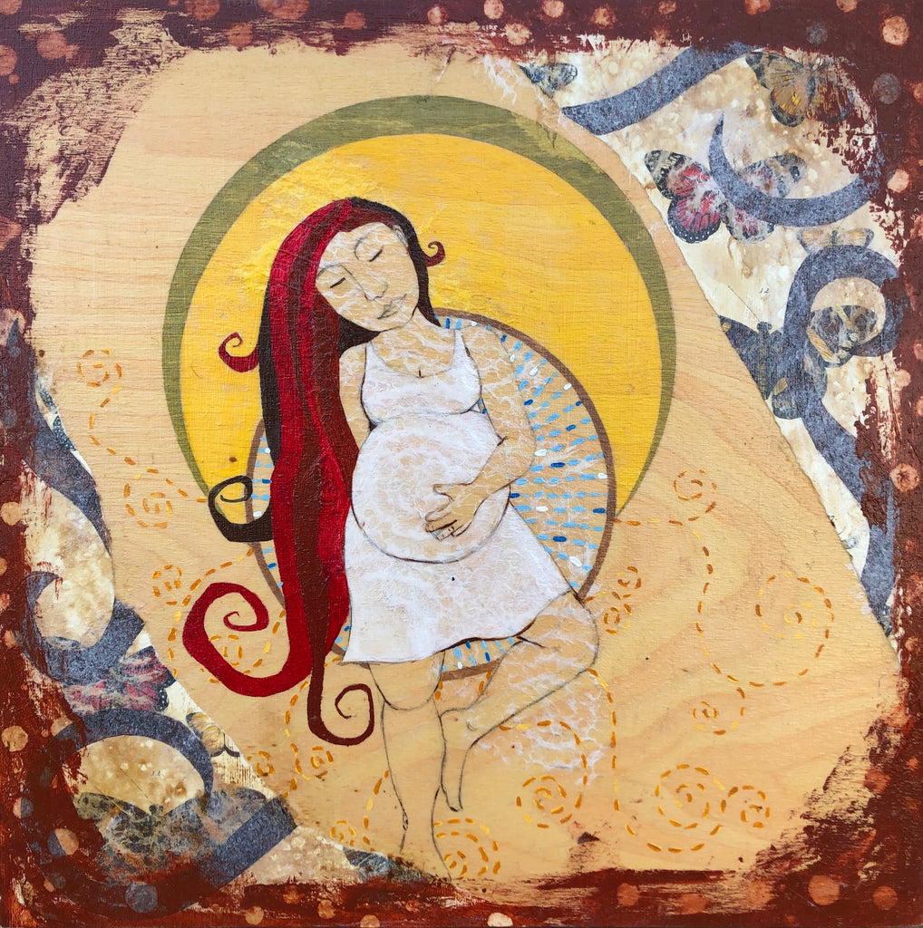 pregnant woman artwork - mixed media - Portland artist Lea K. Tawd