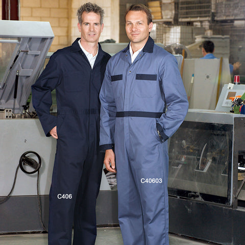 100% Cotton Coveralls - Button Closure - Regular Sizes #C406