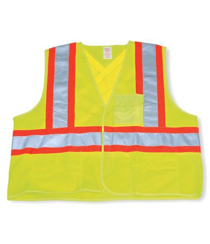 Polyester Lime Green Safety Vest #BK204