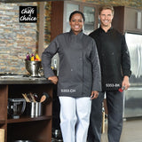 Black Chef Coat with Knob Buttons #5353KB