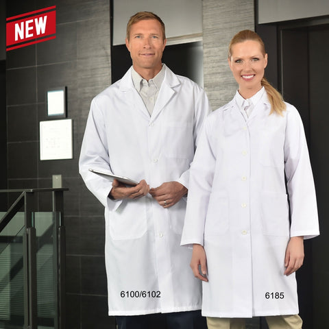 Women's Lab Coat with Snap Closures - Elastic Cuffs - Three Outside Pockets #615EW
