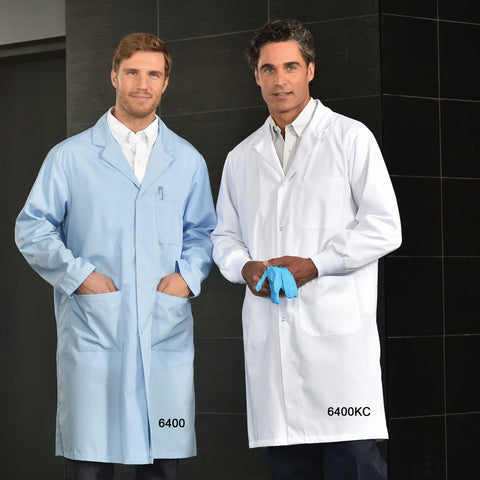 Men's Lab Coat with Snap Closures - Two Outside Lower Pockets #6090