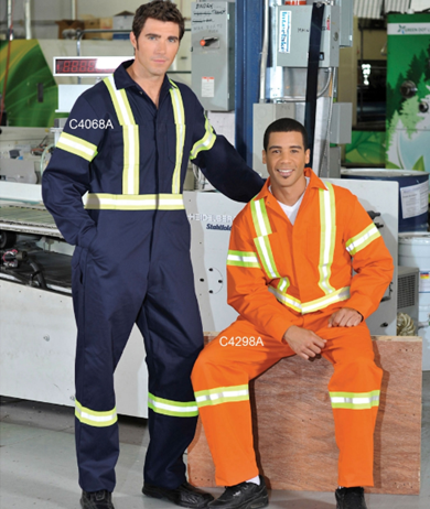 Cotton Coveralls with Reflective Tape - Action Back #C4298A