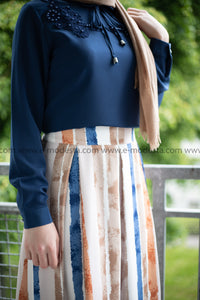 Maxi Striped Skirt | Blue & Orange | Lined from Inside