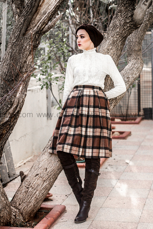 Plaid Winter Wool Skirt - Knee Length
