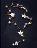 Romantic Flowers and Pearls Long Necklace - E-Modesta