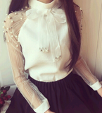 Elegant Chiffon and Pearls Blouse - E-Modesta
