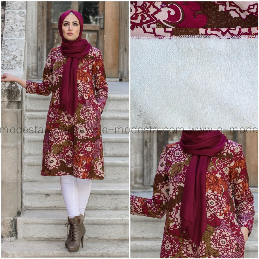 Dark Pink Printed Long Tunic - with soft fur lining from inside - E-Modesta