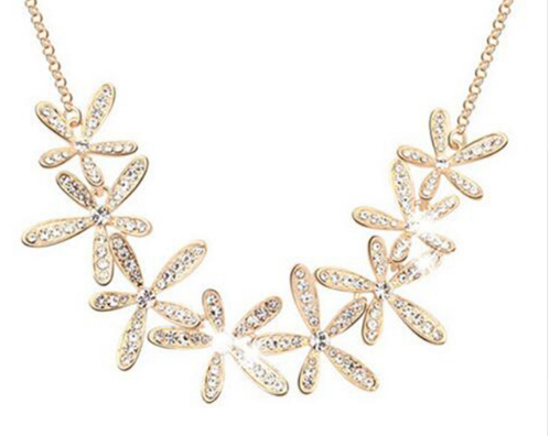 Crystal Flowers Necklace - E-Modesta