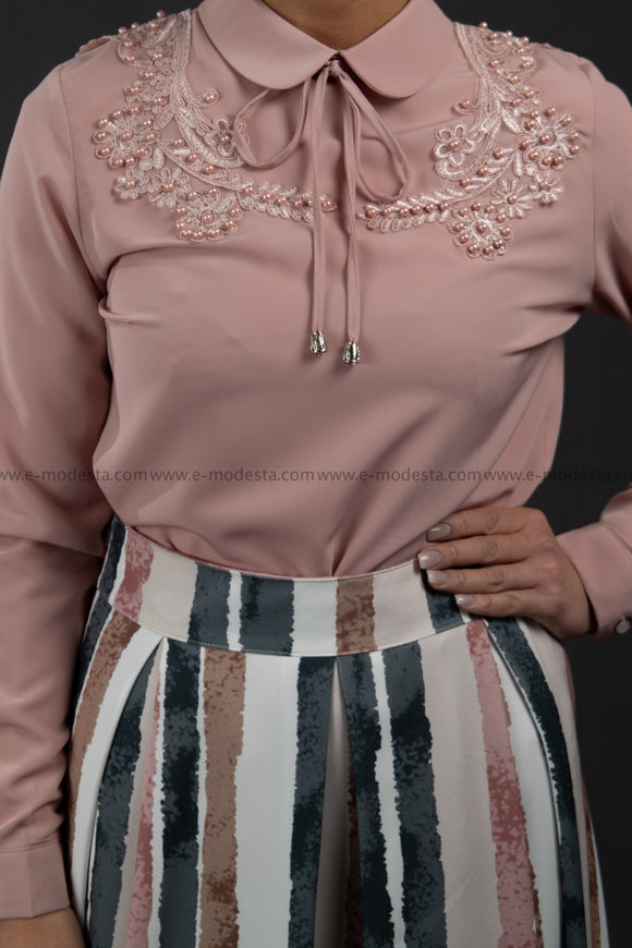 SALE Formal Pink Blouse | Lace & Pearls on the Shoulders