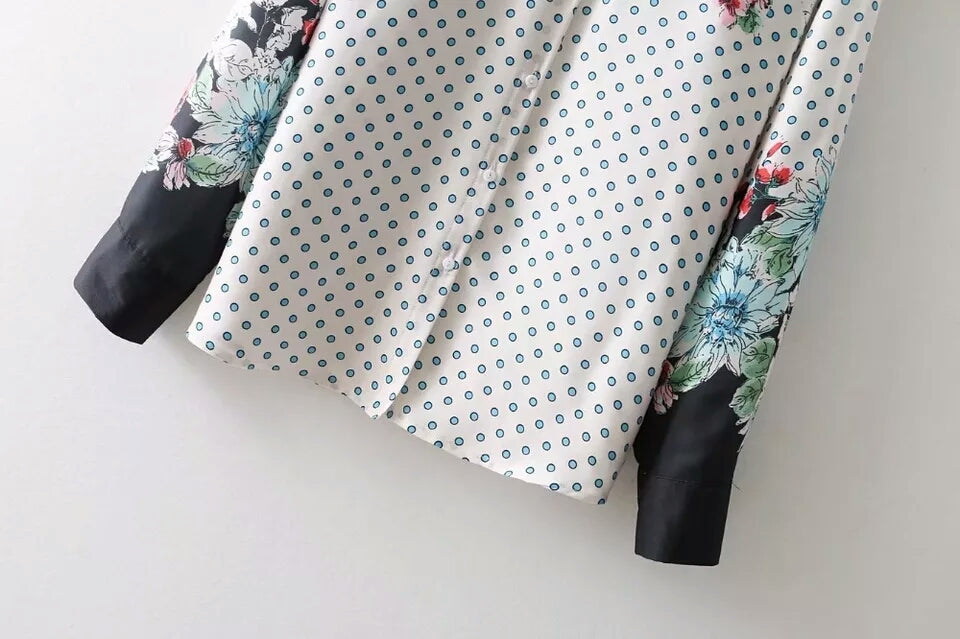 Floral Print - Small Polka Dot White Shirt
