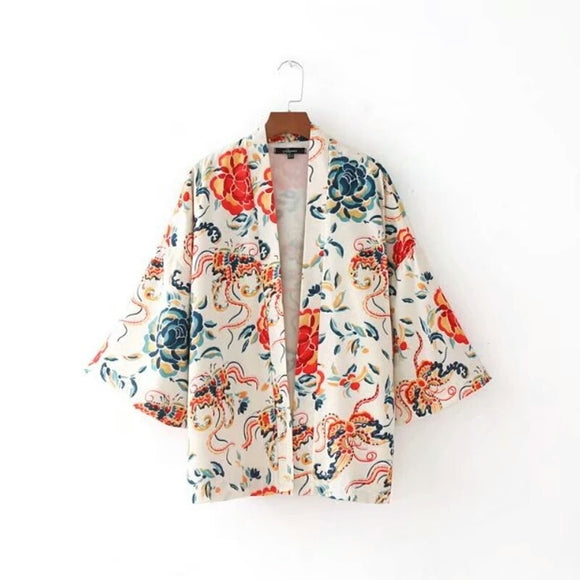 Multicolored Floral Summer Cardigan