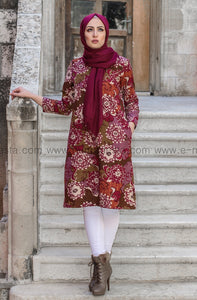Dark Pink Printed Long Tunic - with soft fur lining from inside