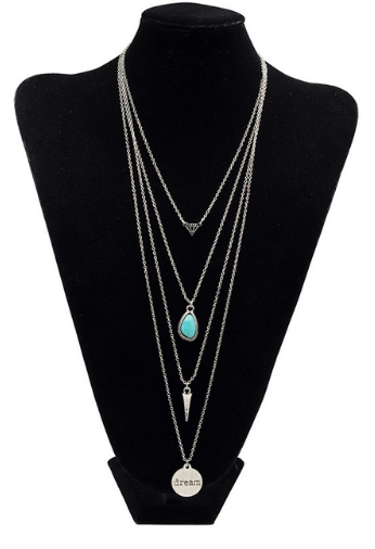 Vintage Retro Turquoise Multiple Chain Long Necklace