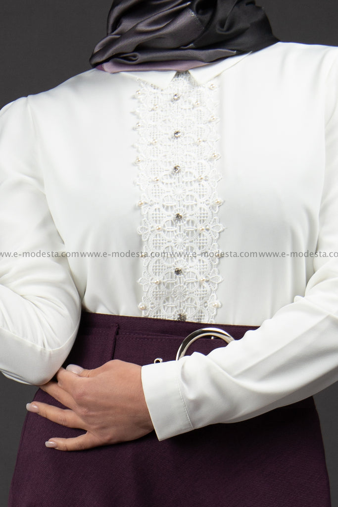 SALE Formal White Blouse | Lace & Flowers in the Middle - E-Modesta