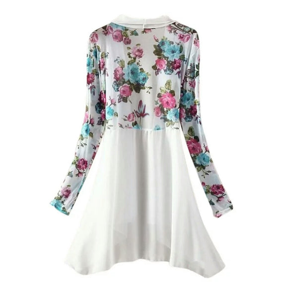 Light Chiffon Cardigan - White Blue Flowers