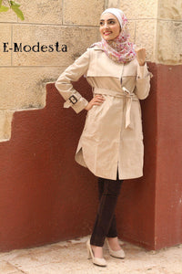 Casual winter long trench coat - Beige and Sky Blue