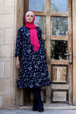 Dark Blue Cotton Linen Vintage Print Long Tunic/Dress - with Soft Fur Full Lining