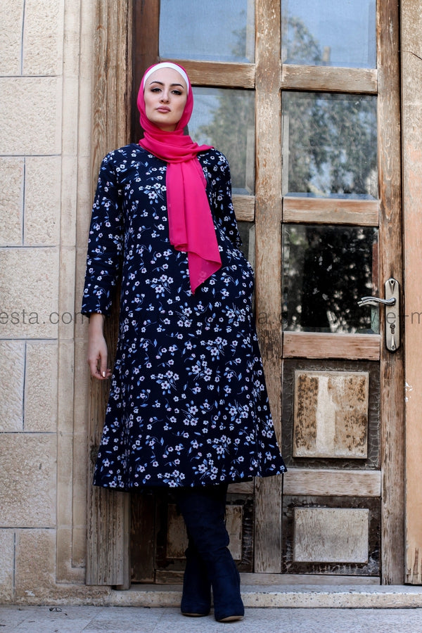 Dark Blue Cotton Linen Vintage Print Long Tunic/Dress - with Soft Fur Full Lining - E-Modesta